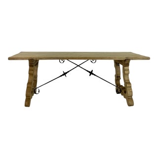 Early 20th Century Spanish Bleached Oak Table For Sale