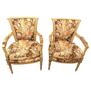 Paint Decorated Maison Jansen Fauteuils with Attractive Fabric - a Pair For Sale