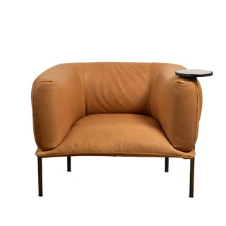 Tan Leather Club Chair With Connected Cocktail Table For Sale