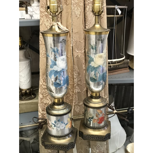Vintage Mercury Glass Mid-Century Gold Mirrored Floral Lamps - Image 6 of 6