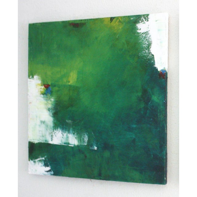 "Abstract ""July"" Green & White Abstract Oil Painting by Paul Ashby For Sale - Image 3 of 3"