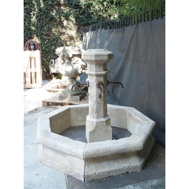 White Octagonal Limestone Center Fountain From Provence, France For Sale - Image 8 of 11
