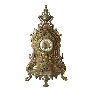 Ornate Brass French Rococo Mantle Clock For Sale