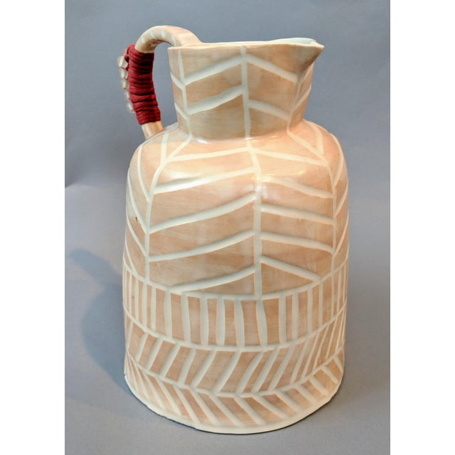 Boho Chic Stoneware Vase and Pitcher For Sale - Image 4 of 9