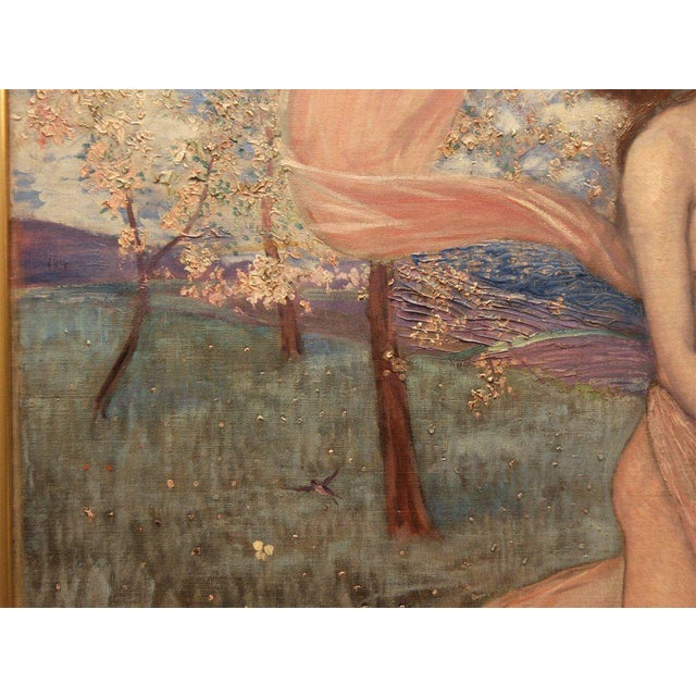 """Early 20th Century Art Nouveau Painting by Alexander Goltz, """"Fruhling"""" For Sale - Image 5 of 8"""