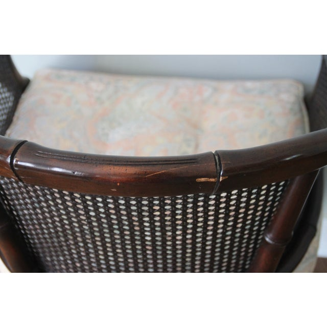 Brown Faux Bamboo & Cane Barrel Back Chair For Sale - Image 8 of 10