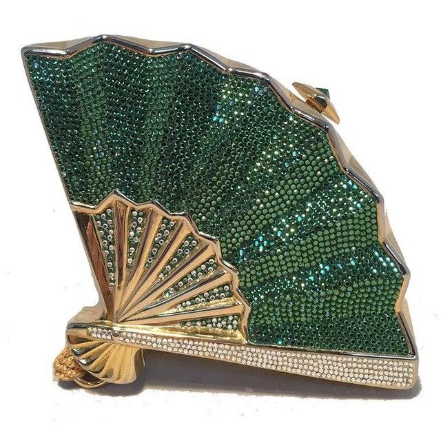 Metal Judith Leiber Swarovski Crystal Fan Minaudiere Evening Bag Clutch Wristlet For Sale - Image 7 of 8