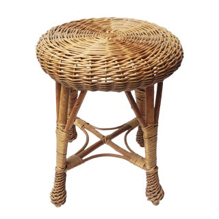 Vintage Franco Albini Style Bohemian Round Bamboo Wicker Rattan Stool / Side Table For Sale