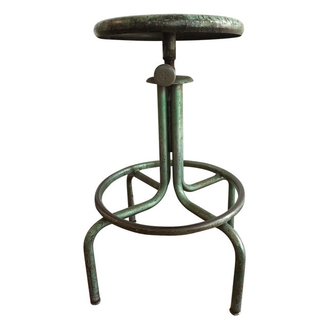 Industrial Green Barstool - Image 1 of 6