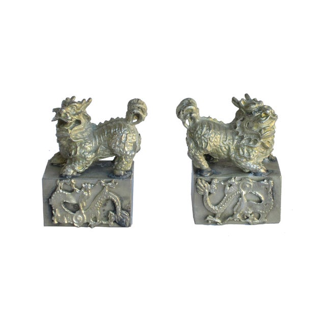 Chinese Mini Silver Metal Foo Dogs - Pair - Image 4 of 6