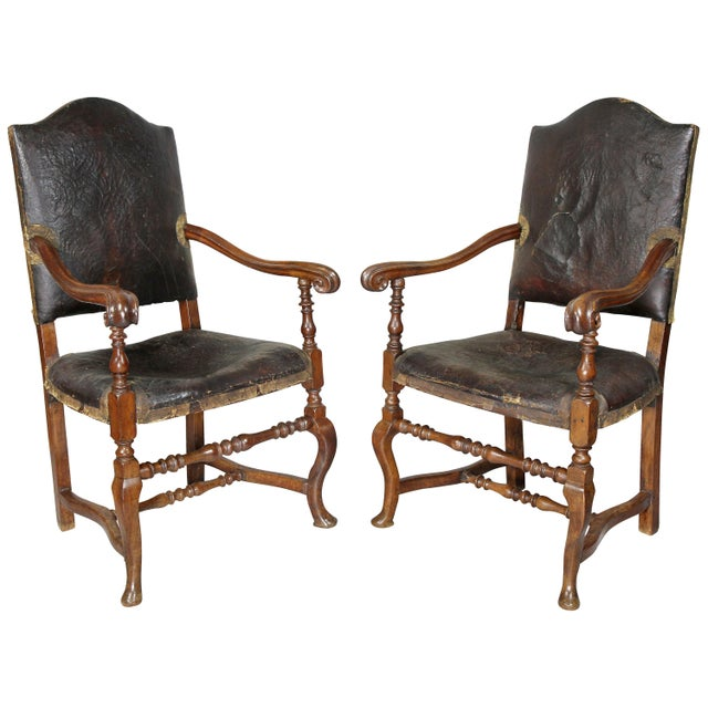 Italian Baroque Walnut Armchairs - a Pair For Sale - Image 11 of 11
