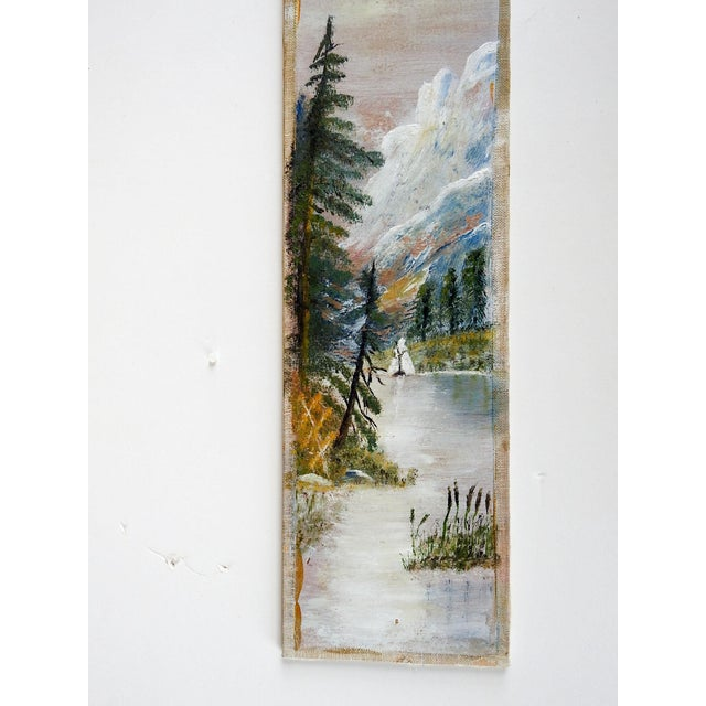 Oil on homemade canvas board folk art painting. Circa 1915 mountain lake scene, unsigned. Unframed, edge wear.