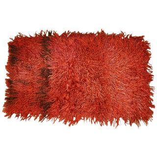 Circa 1960 Vintage Turkish Angora Red Long Pile Tulu Rug For Sale