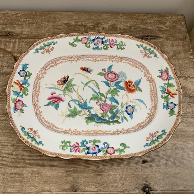 Large Antique English Minton Chinoiserie Platter. Beautiful pattern, gorgeous colors. Late 1800s. Stamped Minton or revers...