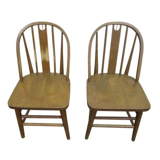 Early 20th Century Vintage Wooden Kitchen Chairs- a Pair For Sale