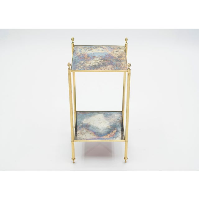 Metal Pair of French Maison Jansen Brass Mirrored Two-Tier End Tables 1960s For Sale - Image 7 of 13