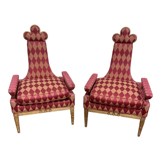 Whimsical Avant Garde Tall Back Chairs- a Pair For Sale