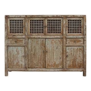 Chinese Distressed Brown Blue Motif Highboard Credenza Table Cabinet