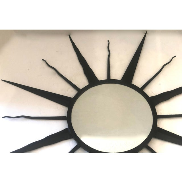Chaty Vallauris C.1960 French Chaty, Vallauris Rare Black Sunburst Mirror For Sale - Image 4 of 12