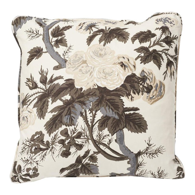 Schumacher Double-Sided Pillow in Pyne Hollyhock Print For Sale