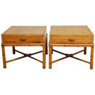 Mid-Century Faux Bamboo End Tables by Henredon - A Pair