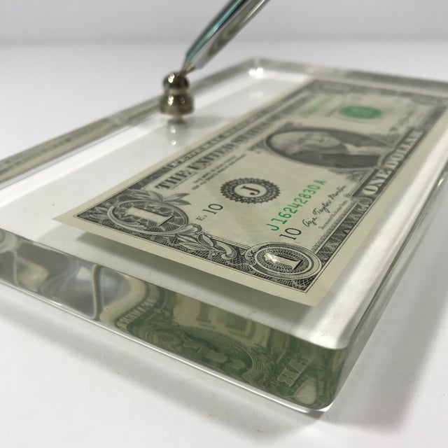 Vintage Dollar Bill Lucite Pen Holder - Image 4 of 11