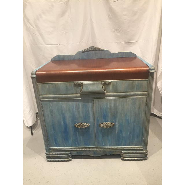 1930s Waterfall Buffet - two-tone finish - original wood top with custom hand painted blended sides in shades of...
