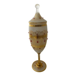 Bohemian Art Glass Jeweled & Covered Urn