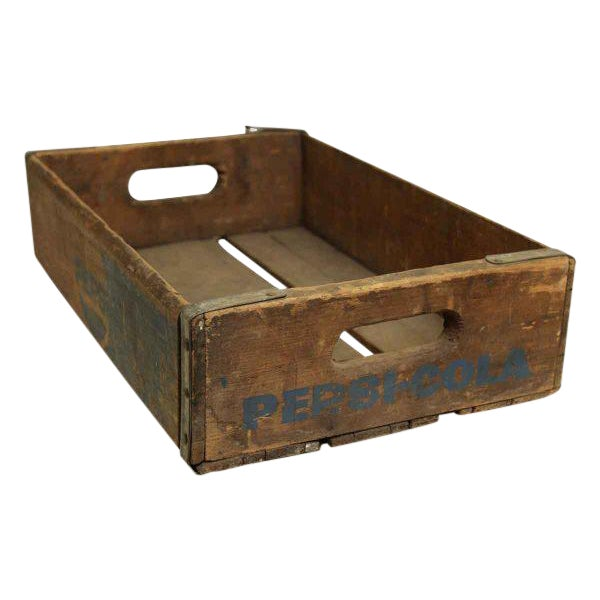 Worn Vintage Wooden Pepsi Crate For Sale