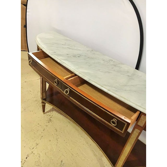 Marble Top Demi Lune Console Tables - Pair - Image 4 of 7