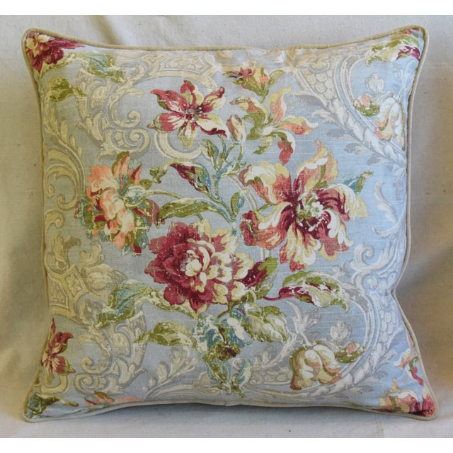 "American French Floral Linen & Velvet Feather/Down Pillows 24"" Square - Pair For Sale - Image 3 of 13"