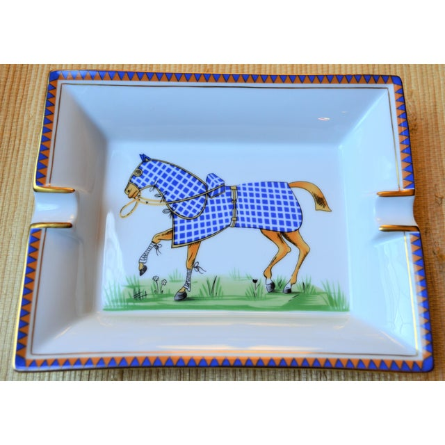 French 1970s Hermes Porcelain Equestrian Ashtray For Sale - Image 3 of 10