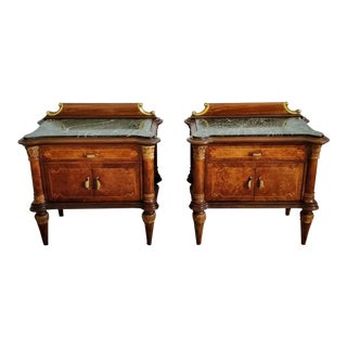 Mid-Century Italian Burlwood Marquetry Bedside Tables - a Pair For Sale