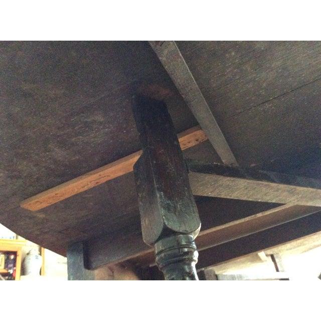 Barley Twist Leg, Drop Leaf Oval Dark Oak Dining Table For Sale - Image 11 of 13