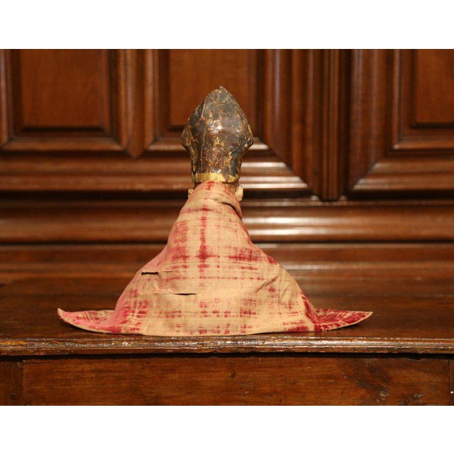 17th Century Spanish Carved Walnut Polychrome Bishop Bust With Velvet Cassock For Sale In Dallas - Image 6 of 8