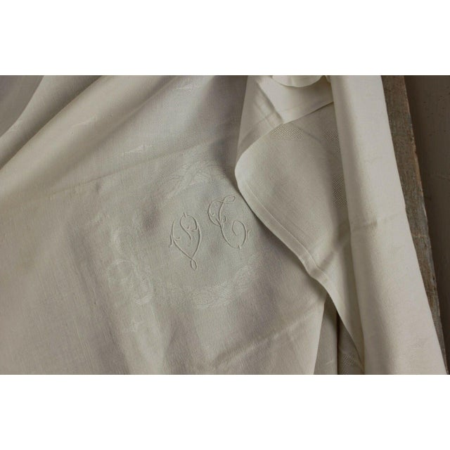 """Early 20th Century Vintage French White Linen Cotton Damask """"VT"""" Christmas Tablecloth - 62"""" x 90"""" For Sale - Image 5 of 9"""