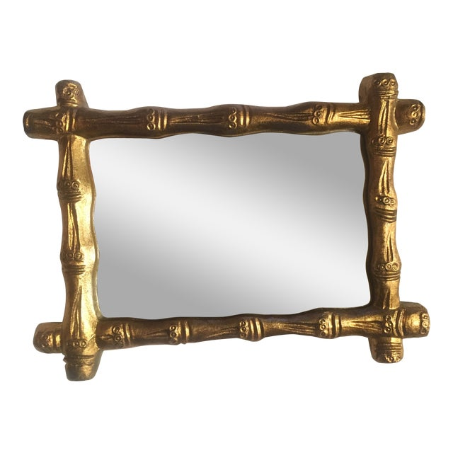 Italian Wood Florentine Gold Faux Bamboo Mirror For Sale