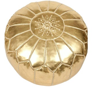 Vintage Mid Century Moroccan Gold Color Hand Tooled Pouf Ottoman For Sale