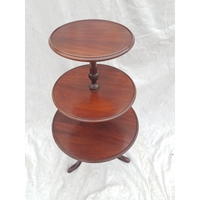 1990s Hickory Chair Co. 3 Tiered Mahogany Dumbwaiter/Butler Table Stand For Sale - Image 11 of 11