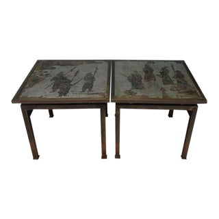 Philip LaVerne Etched Bronze Side Tables - a Pair For Sale