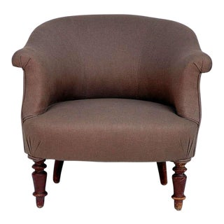 Turned Wood Leg Napoleon III Round Bergere For Sale