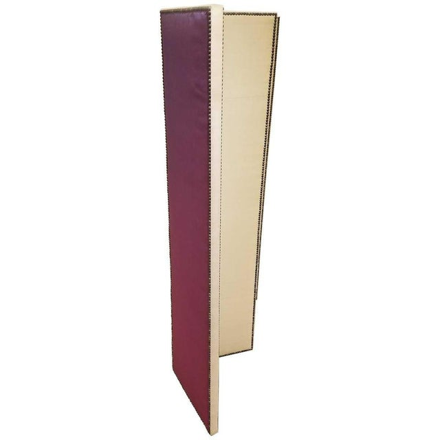 Mid-Century Modern John Saladino Four-Panel Fabric Folding Screen With Nailhead Detail For Sale - Image 3 of 8