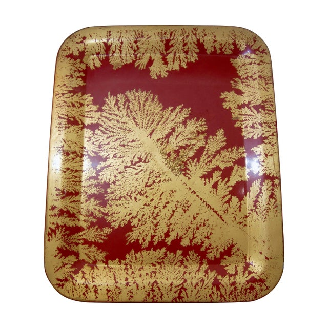 Metal Fornasetti Red and Gold Serving Tray For Sale - Image 7 of 7