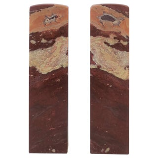 Pair of Red Burgundy Marble Sculptures or Bookends For Sale