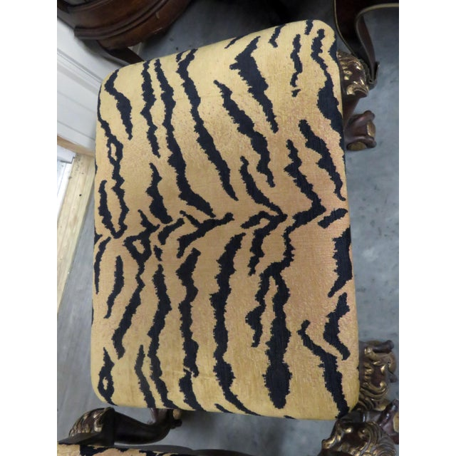 Mid 20th Century Georgian Style Tiger Print Upholstered Benches - a Pair For Sale - Image 5 of 6