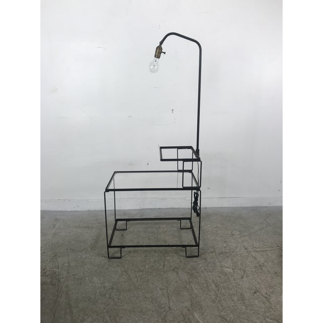 Mid-Century Wrought Iron Table & Lamp Combo in the Style of Weinberg, McCobb For Sale - Image 12 of 13