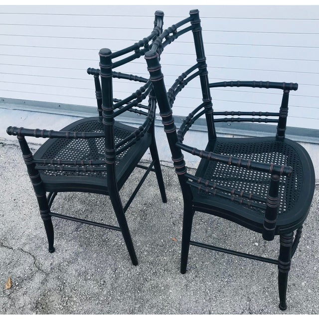 Vintage Baker Furniture Faux Bamboo Chairs - a Pair For Sale - Image 10 of 11
