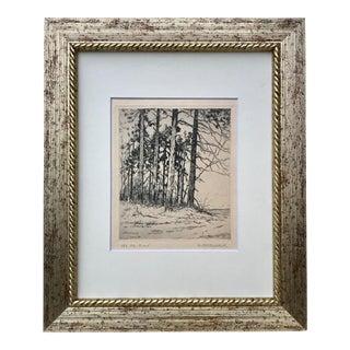 Vintage Original Etching of Trees Artist Signed For Sale