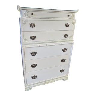 Antique Regency Faux Bamboo Pagoda Chest of Drawers For Sale