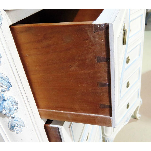 Pair of Swedish Louis XVI style 6 drawer lingerie chests with distressed paint and glass tops.